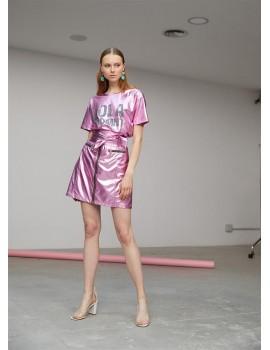 Minifalda volantes estampada LOLA CASADE lila