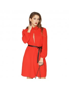 Vestido con cinturon LOLA CASADEMUNT roj rojo